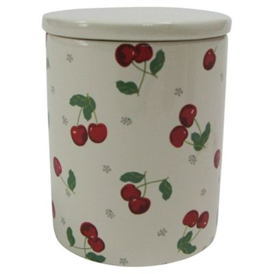 Tesco Cherry Canister, White