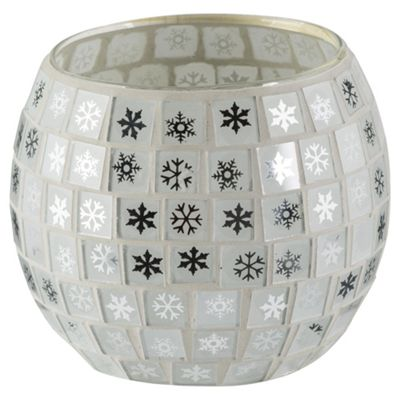 Tesco Christmas Mosaic tealight holder 8.3*6.3cmH Gold