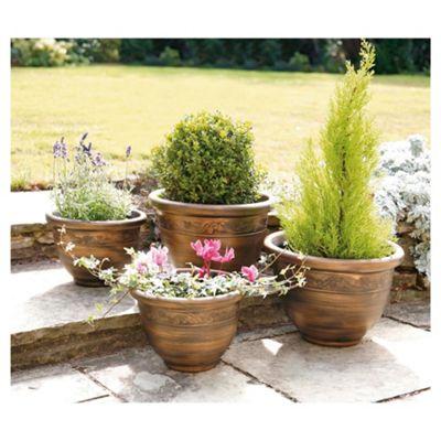 buy pack of 4 antique bronze effect planters. Black Bedroom Furniture Sets. Home Design Ideas