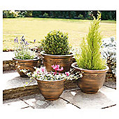"""Pack of 4 """"Antique Bronze Effect"""""""" Planters"""""""