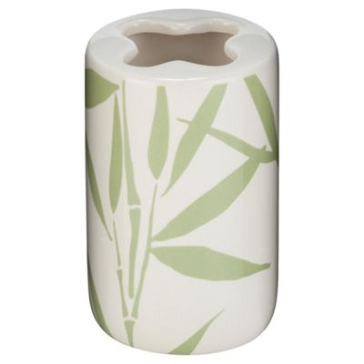 F+F Home Bamboo Leaf Ceramic Toothbrush Holder