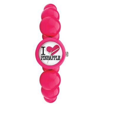 Pineapple Pink Bead Bracelet Watch