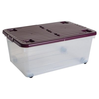 Wham 45L box with wheels, plum