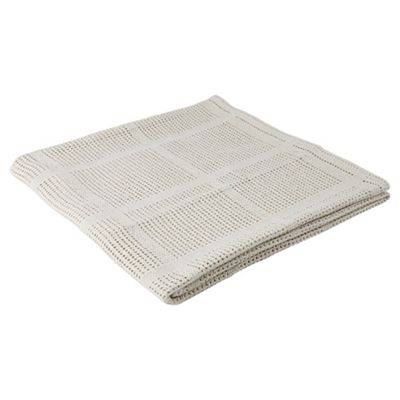 Tesco Loves Baby Cellular Moses/Pram Blanket 2 pack, Cream