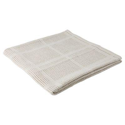 Tesco Loves Baby Cellular Moses/Pram Blanket 2 pack, Cream