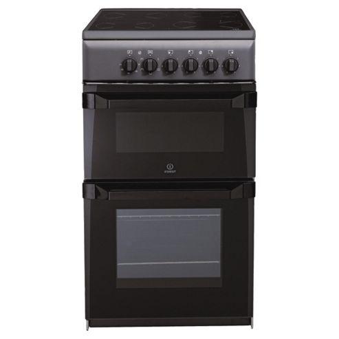 Indesit IT50CA anthracite ceramic twin electric cooker