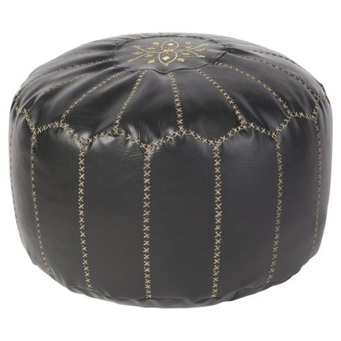 Kaikoo Moroccan Faux Leather Pouffe With Embroidery, Black