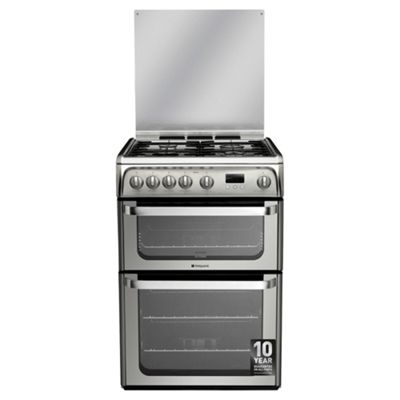 Hotpoint Ultima Gas Cooker with Gas Grill and Gas Hob, HUG61X - Stainless steel