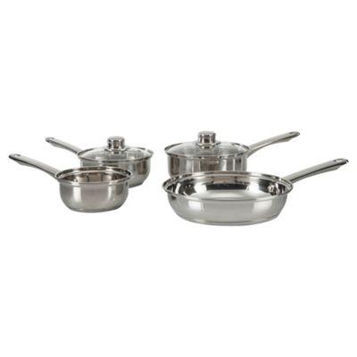 Tesco 4 Piece Stainless Steel Pan Set