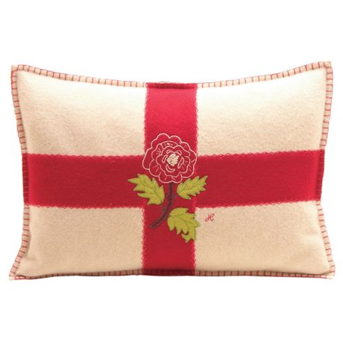 Jan Constantine English Flag With Rose Cushion