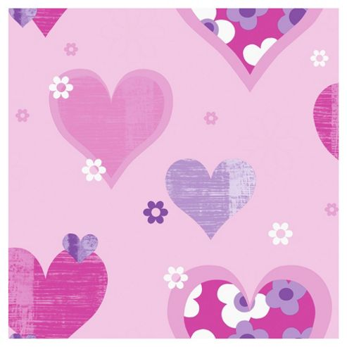 Arthouse Happy Hearts Pink Wallpaper