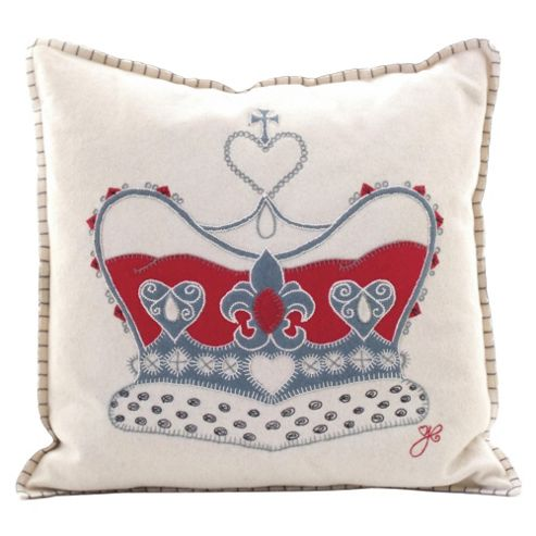 Jan Constantine Cream Felt Crown Cushion
