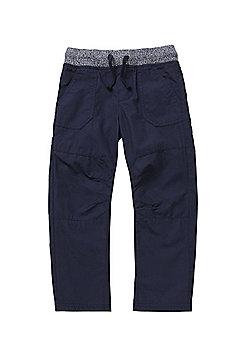 F&F Rib Waist Poplin Trousers - Navy