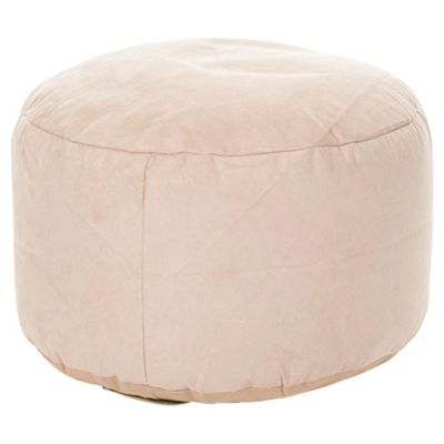 Kaikoo Faux Leather Pouffe, Cream