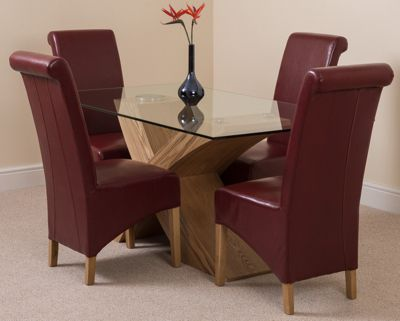 Valencia Glass & Oak 160 cm Dining Table with 4 Red Montana Leather Chairs