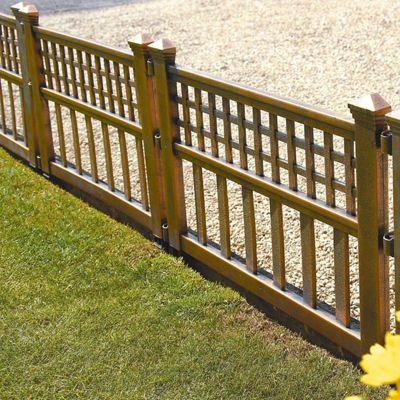 Pack of 8 Bronze Plastic Fence Panels Garden Lawn Edging Plant Border Landscape