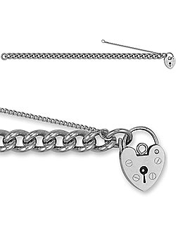 Jewelco London Rose Sterling Silver charm Charm Bracelet - 7.5mm gauge
