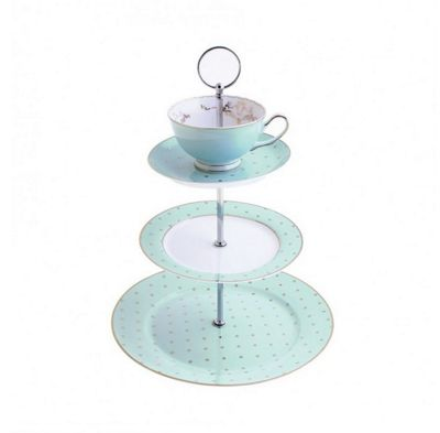 Bombay Duck Miss Darcy Vintage 3 Tier Cup Cake Stand with Teacup and Saucer in Mint and Gold Spot