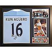 Framed Sergio Aguero signed Manchester City shirt