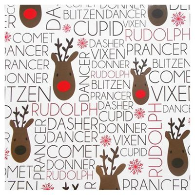 Tesco Cream Reindeer Text Christmas Wrapping Paper, 4m