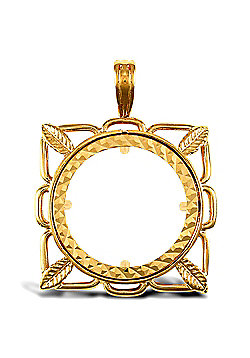 Jewelco London 9ct Solid Gold casted half-size square design Sovereign coin pendant mount