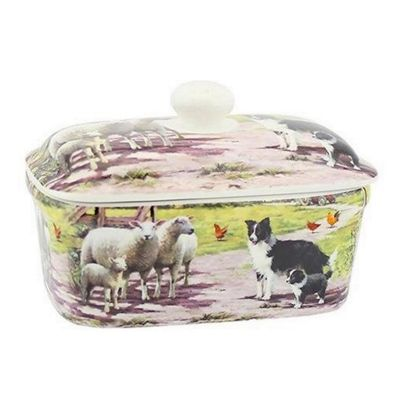 Lesser & Pavey Leonardo Collection Fine China Collie & Sheep Butter Dish