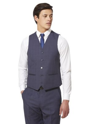 F&F Checked Regular Fit Waistcoat Blue 48 Chest regular length