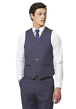 F&F Checked Regular Fit Waistcoat - Blue