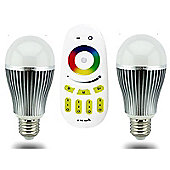 MiLight E27 9W RGB/Multicolour Smart Light Beginner Kit with Remote and 2 Bulbs