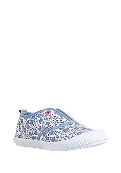 F&F Ditsy Floral Laceless Plimsolls - Pink