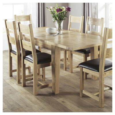 Java 6 Seat Dining Table Set With Chairs Solid Wood