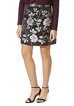 F&F Floral Jacquard Mini Skirt - Black & Purple