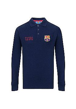 FC Barcelona Boys Long Sleeve Polo Shirt - Navy