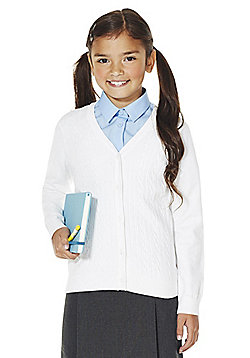 F&F School Girls Cable Knit Cardigan with As New Technology - White