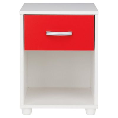 Reno 1 Drawer Bedside Cabinet White & Red