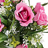 Homescapes Light Pink Artificial Flower Bush Bouquet Arrangement with Rose Mix