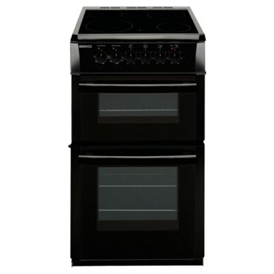 Beko DVC563AK 50cm FS Double Oven Cermaic Hob Black