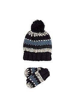 F&F Striped Knitted Bobble Hat and Mittens Set - Navy