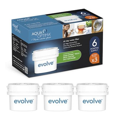 Aqua Optima Evolve 60 day water filter cartridges – 3 pack – Compatible with BRITA* MAXTRA*
