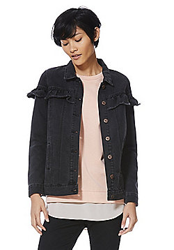 Only Frill Trim Denim Jacket - Washed black