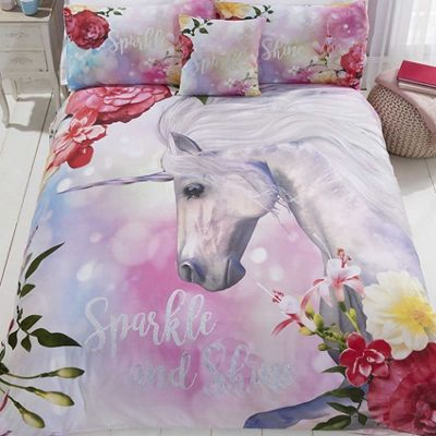 Sparkle Floral Unicorn Single Duvet Cover And Pillowcase Set