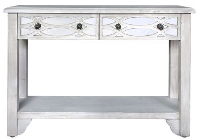 Vermont 2 Drawer Console Table Washed Ash And Mirror
