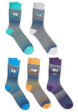 F&F 5 Pair Pack of Googly Eye Fresh Feel Ankle Socks - Multi