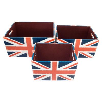 Union Jack Storage Boxes Set Of 3