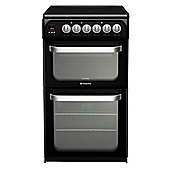 Hotpoint Electric Cooker with Electric Grill and Ceramic Hob, HUE52K S.0 - Black