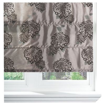 Amelia Flock Lined Roman Blind 60x120cm Charcoal/Pewter