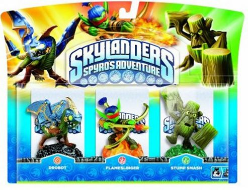Skylanders - Triple Character Pack - Drobot, Stump Smash & Flameslinger