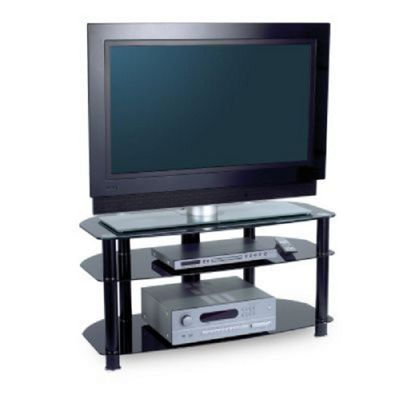 Alphason Sona 3 Shelf AV Rack (Black Frame, Black Glass)
