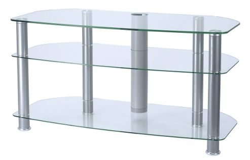 Alphason 42 Sona TV Stand with clear glass and silver legs - for up to 42