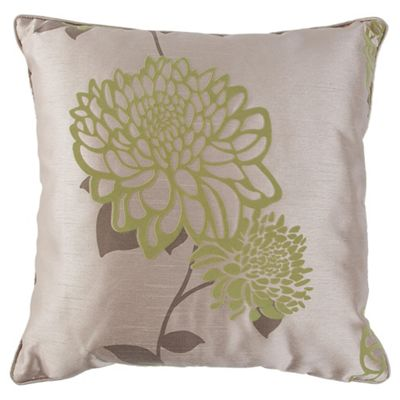Tesco Cushions Amelia Flock Cushion, Green / Natural